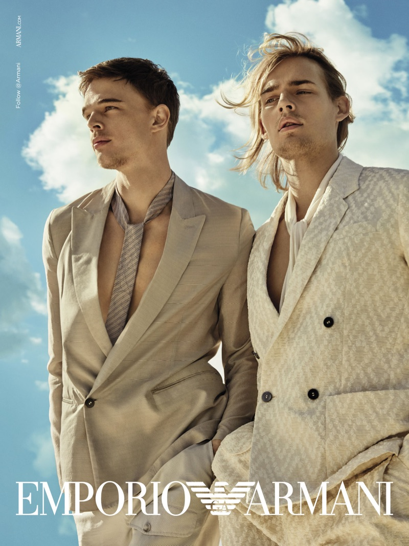 Donning neutral suits, André Bona and Ton Heukels front Emporio Armani's spring-summer 2019 campaign.