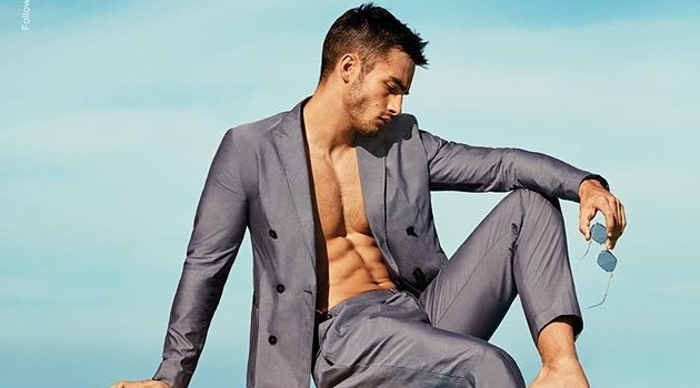 Aleksandar Rusić dons a double-breasted suit for Emporio Armani's spring-summer 2019 campaign.