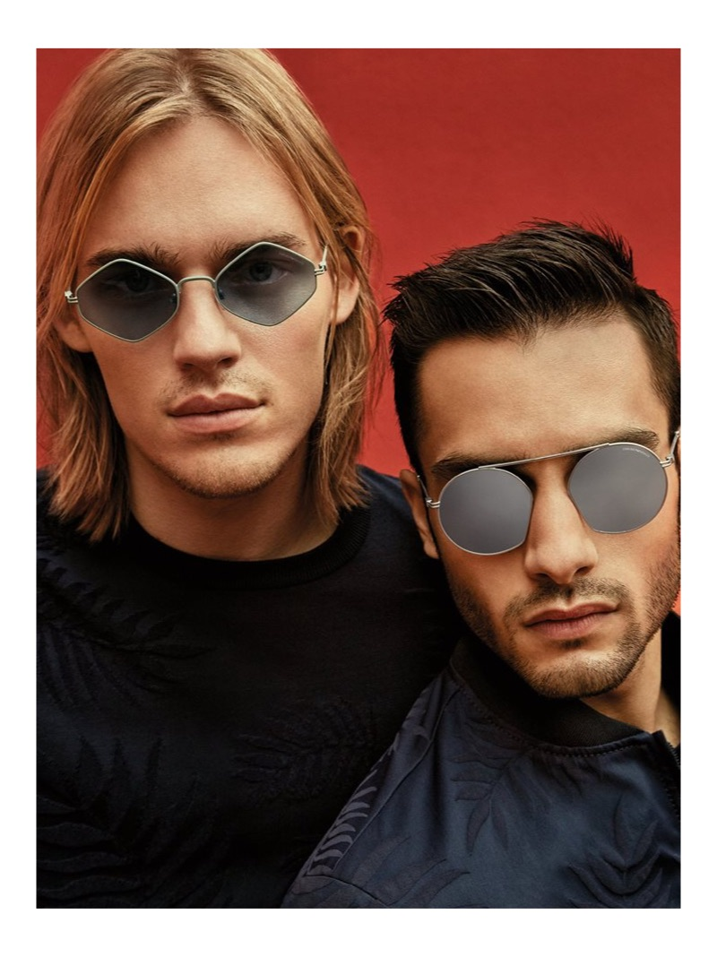 Models Ton Heukels and Aleksandar Rusić front Emporio Armani's spring-summer 2019 eyewear campaign.