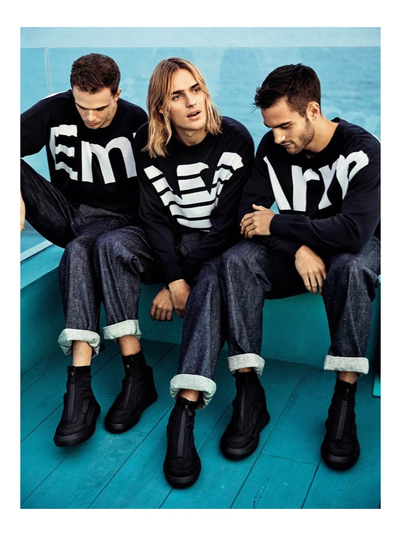 Emporio Armani taps Andre Bona, Ton Heukels, and Aleksandar Rusić to star in its spring-summer 2019 campaign.