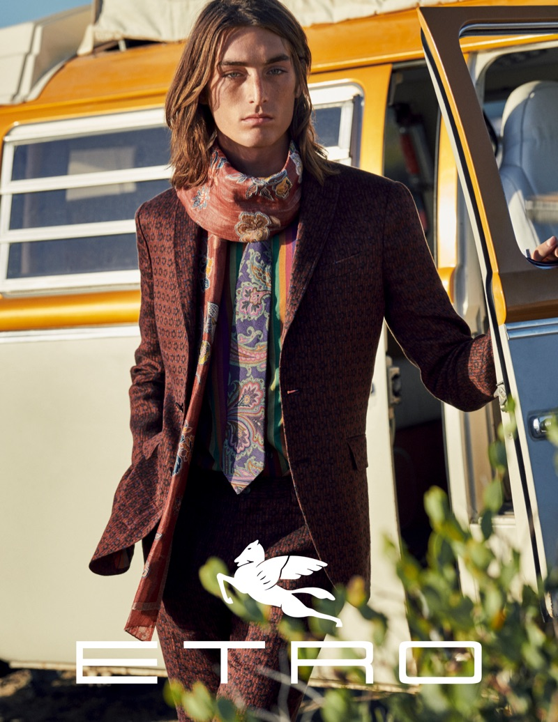Niko Traubman fronts Etro's spring-summer 2019 campaign.