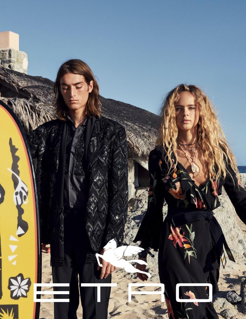 Cass Bird photographs Niko Traubman and Olivia Vinten for Etro's spring-summer 2019 campaign.
