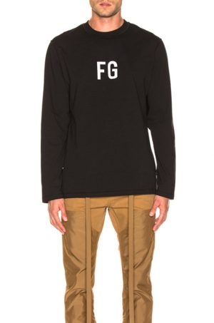 Fear of God Long Sleeve 'FG' Tee in Black. - size XS (also in S,M,L,XL)