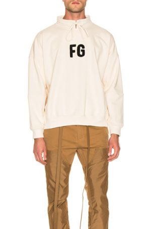 Fear of God Mock Neck 'FG' Pullover in Neutral. - size S (also in XS,M,L,XL)