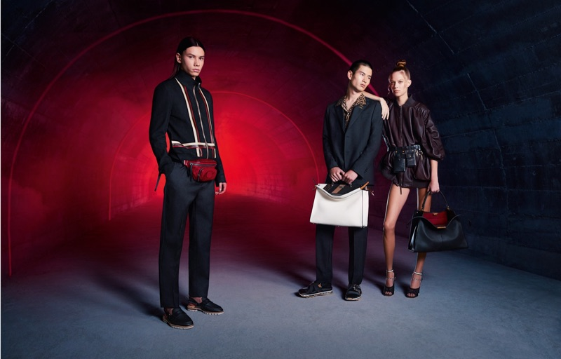 Models Eduards Kraule, Kohei Takabatake, and Lexi Boling star in Fendi's spring-summer 2019 campaign.