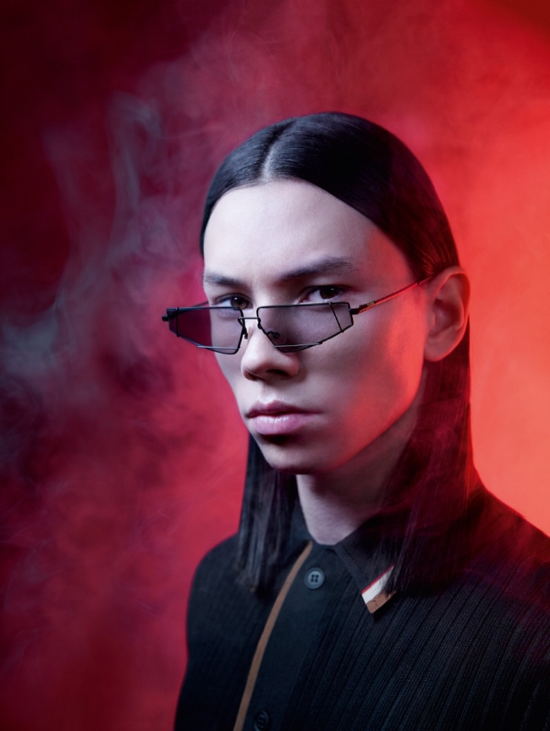 Donning eyewear, Eduards Kraule appears in Fendi's spring-summer 2019 campaign.