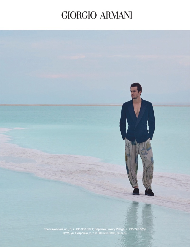 Model Maxime Daunay appears in Giorgio Armani's spring-summer 2019 campaign.