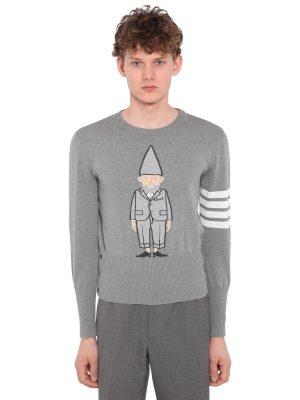 Gnome Intarsia Cotton Knit Sweater