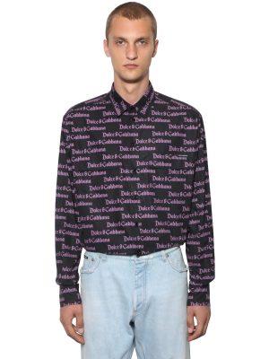Gothic Logo Cotton Poplin Shirt