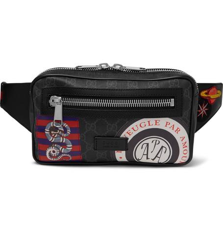 fec39518a Gucci – Appliquéd Leather-Trimmed Monogrammed Coated-Canvas Belt Bag – Men  – Black