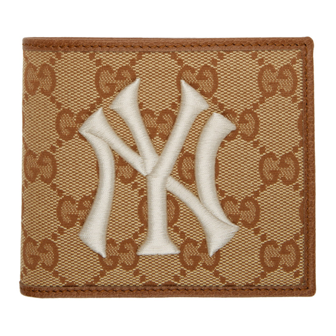 4f43dcd78a40c3 Gucci Beige and Brown NY Yankees Edition GG Patch Wallet | The Fashionisto