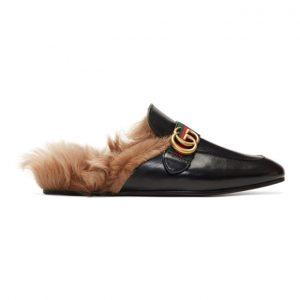 Gucci Black Fur Princetown Slippers