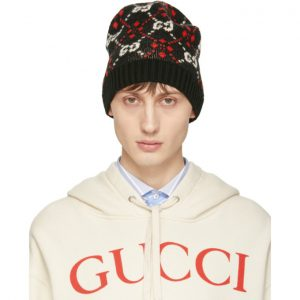 Gucci Black GG Supreme Diamond Beanie