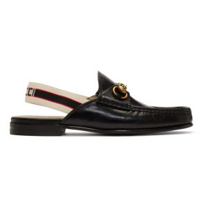 Gucci Black Leather Roos Loafers