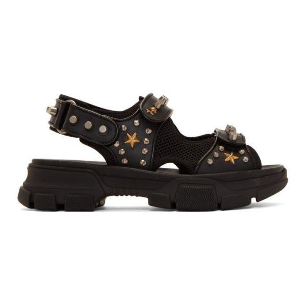 Gucci Black Studded Aguru Sandals