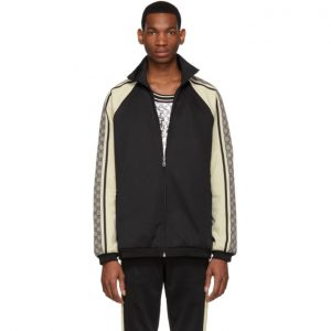 Gucci Black and Off-White Oversized Jersey Jacket