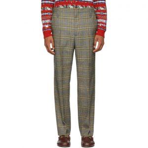 Gucci Black and Orange 70s Check Trousers