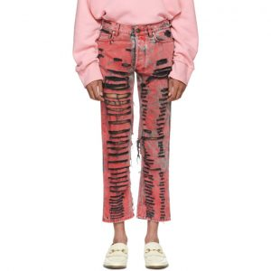 Gucci Black and Red Overdyed Ripped Jeans