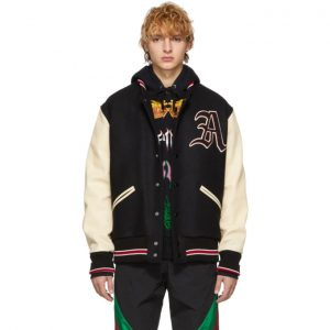 Gucci Black and White Patch Bomber Jacket