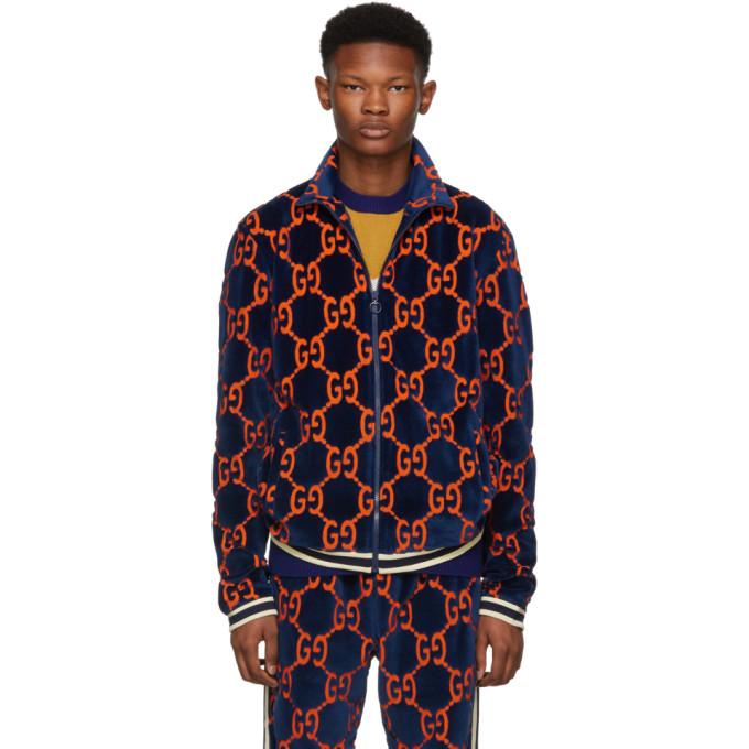 6e1232000 Gucci Blue Chenille GG Supreme Track Jacket