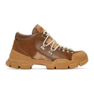 Gucci Brown Flashtrek GG Sneakers