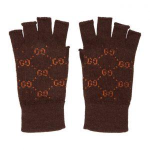 Gucci Brown and Orange GG Supreme Fingerless Gloves
