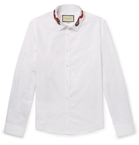8089ef0c7 Gucci – Duke Appliquéd Cotton Oxford Shirt – Men – White   The ...