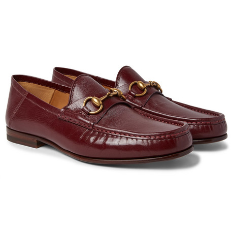 Gucci - Easy Roos Horsebit Collapsible-Heel Leather Loafers - Men - Burgundy