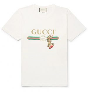 Gucci - Embellished Printed Cotton-Jersey T-Shirt - Men - Cream