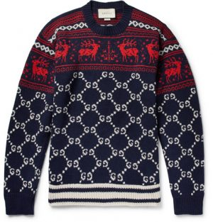 Gucci - Fair Isle Jacquard-Knit Wool Sweater - Men - Storm blue