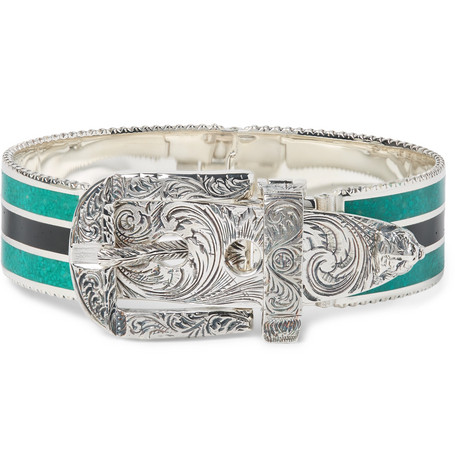 c0215ecdf2b Gucci – Garden Sterling Silver and Enamel Bracelet – Men – Silver ...