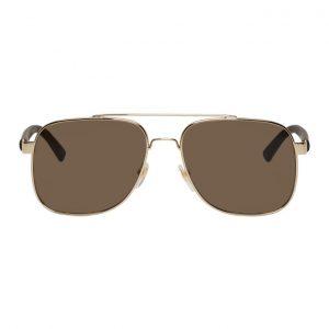 Gucci Gold and Grey Caravan Sunglasses