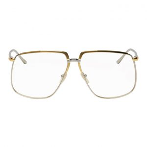 Gucci Gold and Silver Metal 80s Glasses