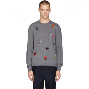 Gucci Grey All Over Embroidery Sweater