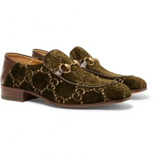Gucci - Horsebit Collapsible-Heel Leather-Trimmed Embroidered Velvet Loafers - Men - Army green