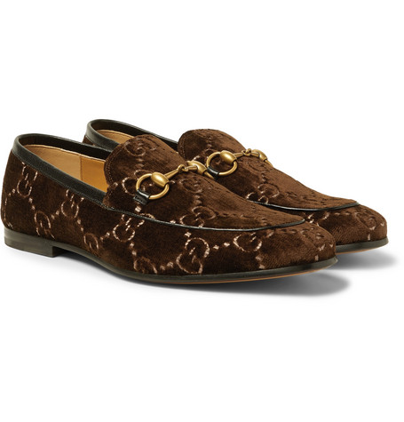 6cd42ec05 Gucci – New Jordaan Horsebit Leather-Trimmed Logo-Embroidered Velvet Loafers  – Men – Dark brown