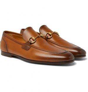 Gucci - Jordaan Horsebit Burnished-Leather Loafers - Men - Light brown
