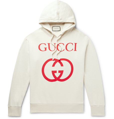 4ad863d6 Gucci – Logo-Print Loopback Cotton-Jersey Hoodie – Men – Cream   The ...