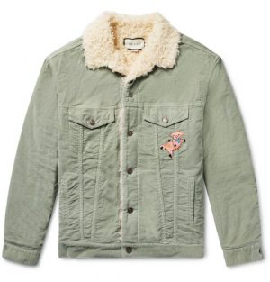 Gucci - Oversized Faux Shearling-Lined Embroidered Stretch Cotton-Corduroy Trucker Jacket - Men - Light green