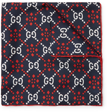 Gucci - Printed Silk-Twill Pocket Square - Men - Navy