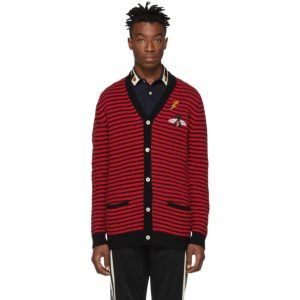 Gucci Red and Black Striped Cardigan