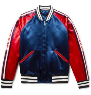 Gucci - Reversible Webbing-Trimmed Satin-Twill Bomber Jacket - Men - Storm blue
