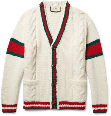 0d7c806e423 Gucci – Stripe-Trimmed Cable-Knit Wool Cardigan – Men – Cream