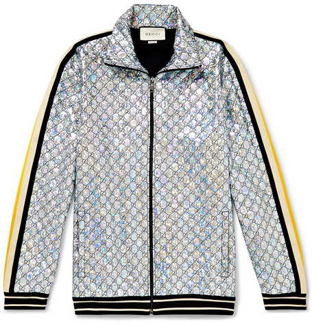 41104367315 Gucci – Webbing-Trimmed Logo-Embroidered Iridescent Jersey Track Jacket –  Men – Silver
