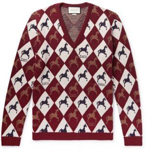 Gucci - Wool-Jacquard Sweater - Men - Burgundy