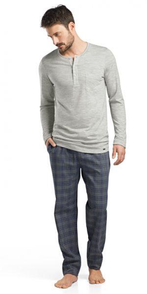HANRO (75671) Fynn Long Sleeve Henley Shirt - Light Melange S