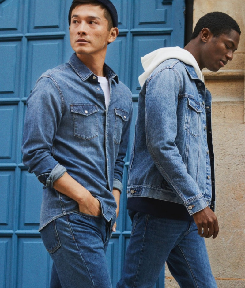 On a stroll, Daisuke Ueda and Hamid Onifade double down on fresh denim from H&M.