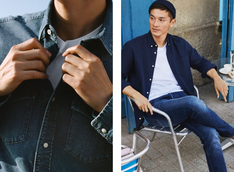 Pictured right, Daisuke Ueda dons distressed denim jeans in a slim straight comfort fit.