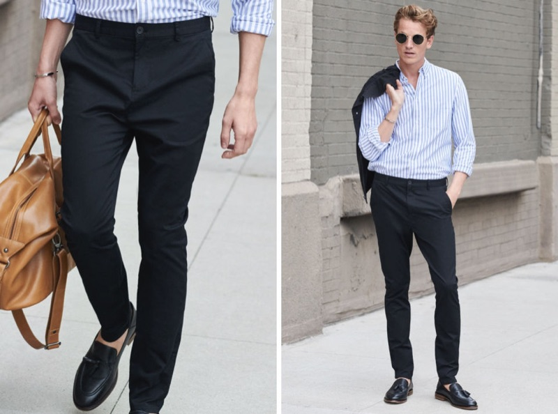 Hugo Sauzay plays it smart in a pair of slim-fit cotton chinos with a striped shirt by H&M.