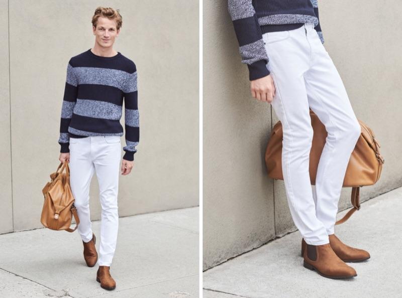 Sporting a striped sweater, Hugo Sauzay also rocks H&M's skinny-fit 5-pocket twill pants.